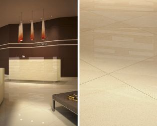 Mozaikowa ozdoba przestronnej recepcji w stylu minimalistycznym