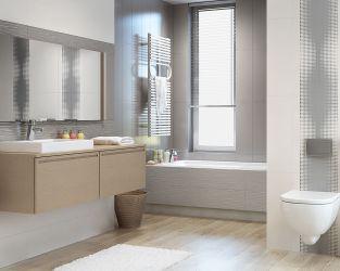 Średniej wielkości łazienka w modnych szarościach