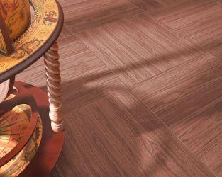 Ceramiczny, dębowy parkiet ułożony w szachownicę w salonie