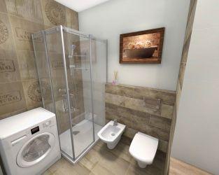 Stare drewno i biel w małej łazience