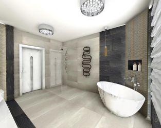 Jasne wielkoformatowe płytki w dużej łazience