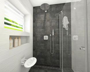 Biało-szara, nieduża łazienka z kabiną prysznicowa