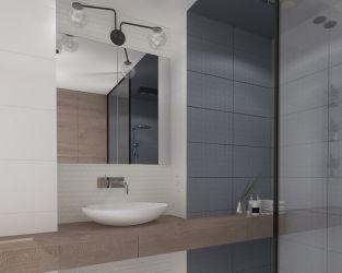 Drewno, biel i subtelny ornament w łazience z kabiną natryskową
