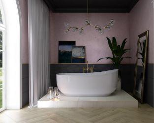 Projekt pięknego, luksusowego salonu kąpielowego wpisującego się w najnowsze trendy