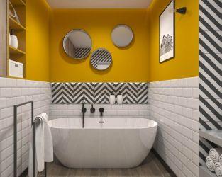 Biała cegła, czarno-białe pasy i kolor żółty w łazience