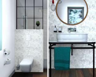 Jasna, industrialna łazienka z wnęką prysznicową