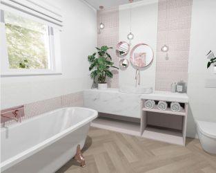 Jasna łazienka z oknem i podłogą z ceramicznych desek
