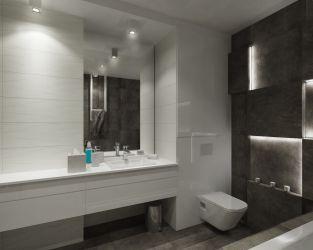 Nowoczesna łazienka utrzymana w ponadczasowej kolorystyce biało-szarej