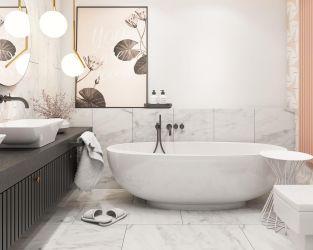 Marmurowa i heksagonalna elegancja w łazience