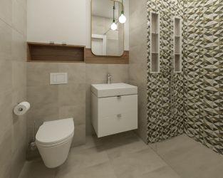 Mała, jasna łazienka z geometrycznym motywem