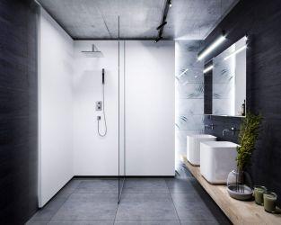 Kontrastowa, industrialna łazienka w bieli i szarości