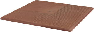 Cotto Naturale Stopnica Narożna   - Brązowy - 300x300 - Płytki podłogowe - Cotto