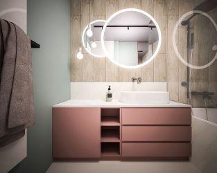 Biel, drewno i pastelowe barwy w małej łazience
