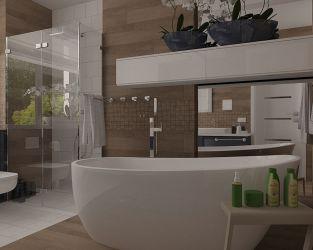 Ceramiczne drewno, błyszcząca czerń i biel w łazience z oknem