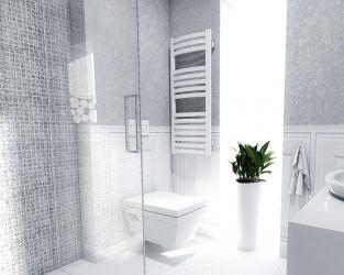 Biel w jasnej klasycznej łazience - Jasna łazienka z płytkami z kolekcji Chevron