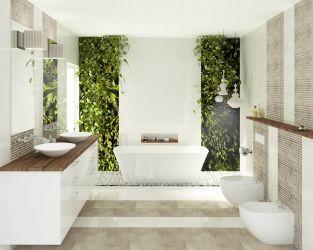 Biel i drewno w łazience w stylu eco i hygge