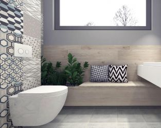 Drewno i geometria w przestronnej łazience