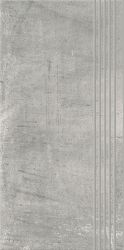 Hybrid Stone Grys Stopnica Prosta Nacinana  - Szary - 298x598 - Elementy wykończeniowe - Hybrid Stone