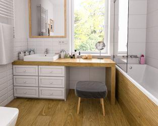 Biała cegła i drewno w łazience