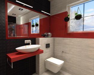 Modernistyczna łazienka w wyrazistym czerwonym kolorze