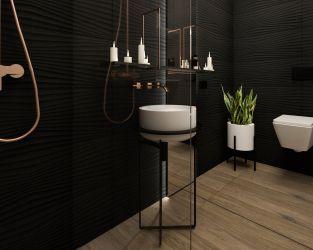 Nowoczesność, faktury i ponadczasowe kolory w łazience