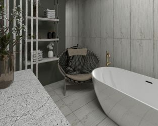 Śródziemnomorska łazienka w złocie i drewnie