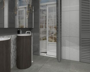 Biało-szara łazienka z wyjściem na taras