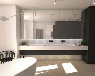 Biel, czerń, mozaika i drewnopodobne płytki w łazience
