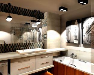 Geometryczne wzory, kamienne tło i drewno w małej łazience z wanną