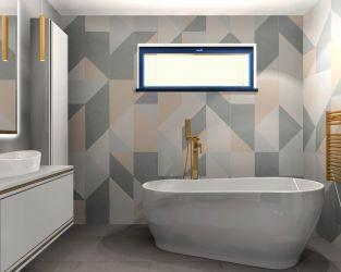 Niezwykłe połączenie w geometrycznej łazience