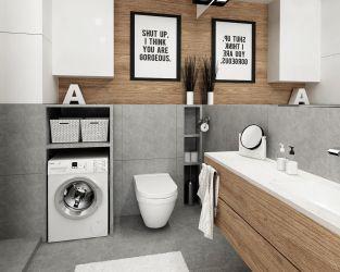 Biel, szary kamień i drewno w modnej łazience