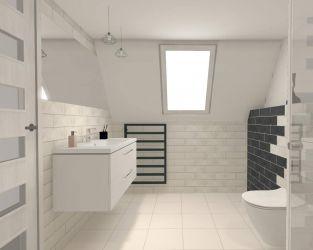 Łazienka na poddaszu z dominacją bieli