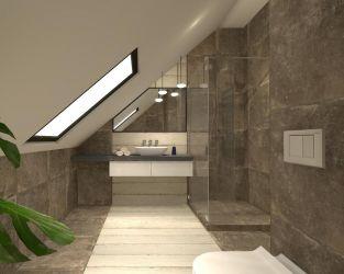 Aranżacja szarej łazienki poddaszowej