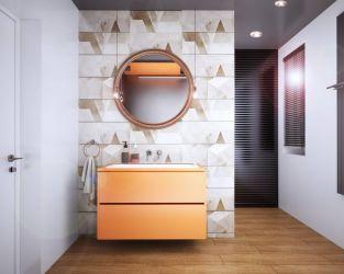 Biel, ceramiczne drewno i geometria w przestronnej łazience