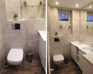 Mała, jasna łazienka z mozaiką