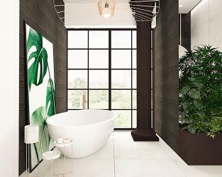 Czekoladowo-biała łazienka w miejskim apartamentowcu