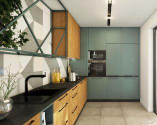 Formy geometryczne w interesującej kuchni połączone z tarasem