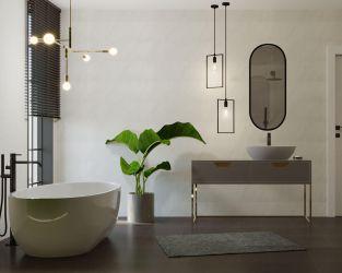 Przestronna jasna łazienka: minimalizm + art deco