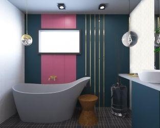Złoto i róż w modernistycznej łazience