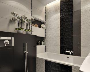 Biel, czerń i florystyczna faktura w małej łazience