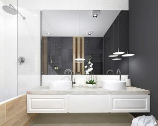 Kamień i drewno w łazience z dwiema umywalkami