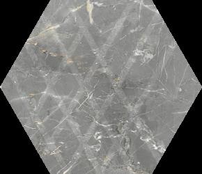 Marvelstone Light Grey Heksagon Gres Szkl. Mat. - Wielokolorowe - 198x171 - Floor tiles - Marvelstone