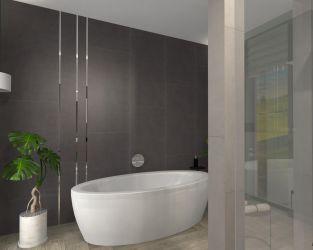 Drewno i beton w przyjaznej łazience