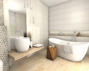 Subtelna geometria, biel i drewnopodobne płytki w jasnej łazience