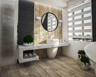 Ciemna struktura i efekt naturalnego drewna w łazience na poddaszu