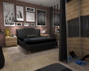 Szare odcienie i drewnopodobne płytki w sypialni