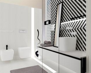 Hipnotyzująca geometria black&white w łazience