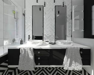Wzorzysta łazienka glamour w czerni i bieli