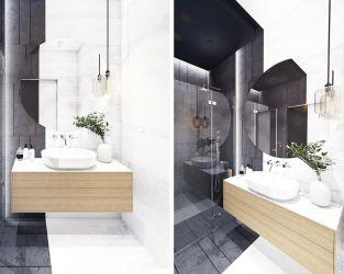 Monochromatyczna łazienka z przewagą czerni i grafitu