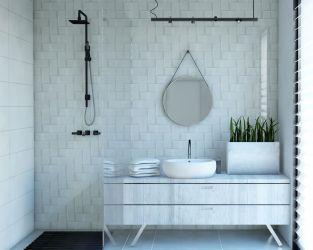 Biała cegła, prostokąty i kwadraty w jasnej łazience